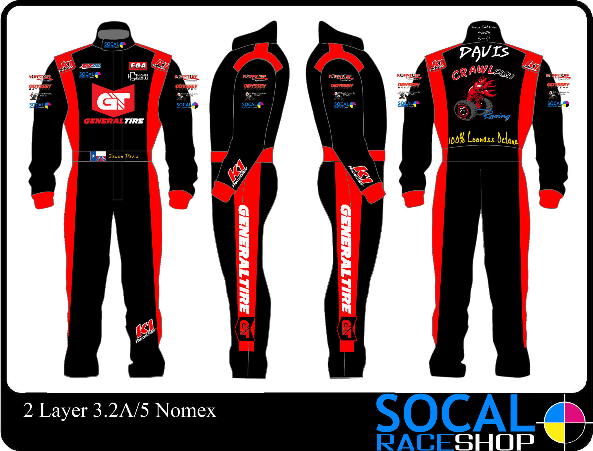 Black And Yellow Race Car Suit